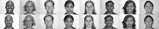 Ряд фотографий улыбающихся и не улыбающихся людей в приложении к анкете