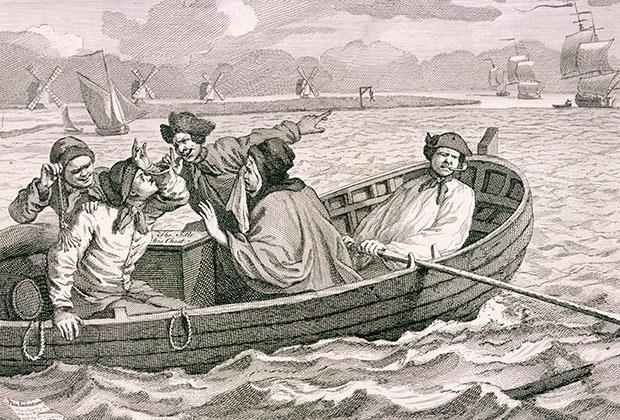 Гиббеты на берегах Темзы (на гравюре Уильяма Хогарта)