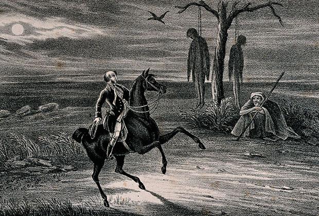 «Мужчина скачет мимо гиббета» (литография Уильяма Клерка)