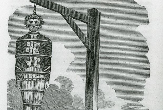 Повешенный в клетке труп пирата Уильяма Кидда