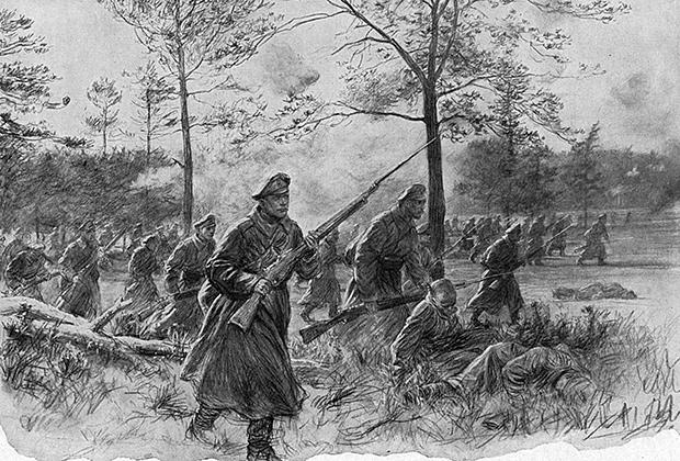 Июнь 1916 года. Брусиловский прорыв. Русская пехота идет в атаку