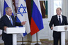 Russian President Vladimir Putin, right, and Israeli Prime Minister Benjamin Netanyahu attend a joint news conference following their talks in the Kremlin in Moscow, Russia, Tuesday, June 7, 2016. Russia and Israel will expand their cooperation in the fight against terrorism, Russian President Vladimir Putin said Tuesday. (Maxim Shipenkov/Pool photo via AP)