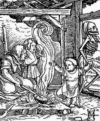 Смерть уносит ребенка (гравюра Ганса Гольбейна-старшего, 1583 год)