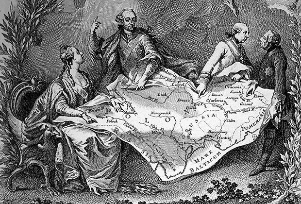 Первый раздел Польши: территориальные споры между Екатериной Великой (Российская империя), Иосифом II (Австрия) и Фредериком Великим (Пруссия)