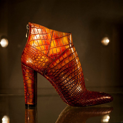 Дамские ботильоны из кожи крокодила, обувное ателье «Лефорт»