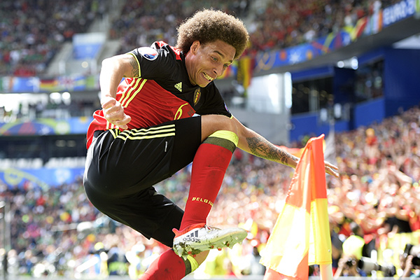 Bordeaux, FRANCE - Belgium's Axel Witsel celebrates after scoring during a soccer game between Belgian national soccer team Red Devils and Ireland, in group E of the group stage of the UEFA Euro 2016 European Championships