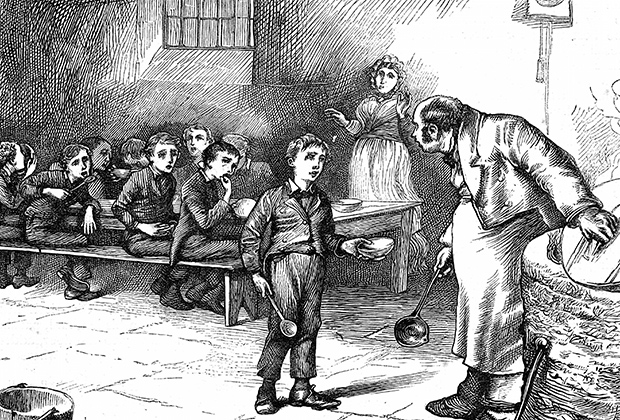 Оливер Твист просит добавки каши у надзирателя работного дома