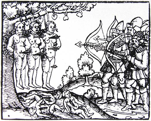 «Весьма мерзкие, ужасные, доселе неслыханные, истинные новые известия, какие зверства совершают московиты с пленными христианами из Лифляндии». Георг Бреслейн, Нюрнберг, «Летучий листок», 1561 год