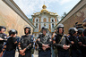 Interior Ministry members stand guard near the Kiev Pechersk Lavra monastery on the day of the election of the Primate of the Ukrainian Orthodox Church of the Moscow Patriarchate, in Kiev