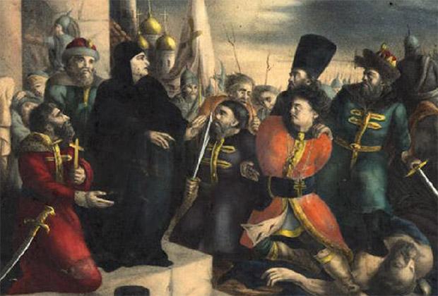 Царица Марфа обличает Лжедмитрия. Раскрашенная литография по эскизу В. Бабушкина, середина XIX века