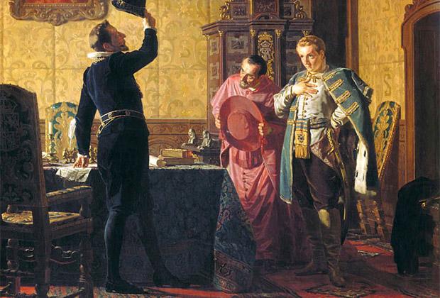 Присяга Лжедмитрия I польскому королю Сигизмунду III на введение в России католицизма. Картина Николая Неврева,1874 год