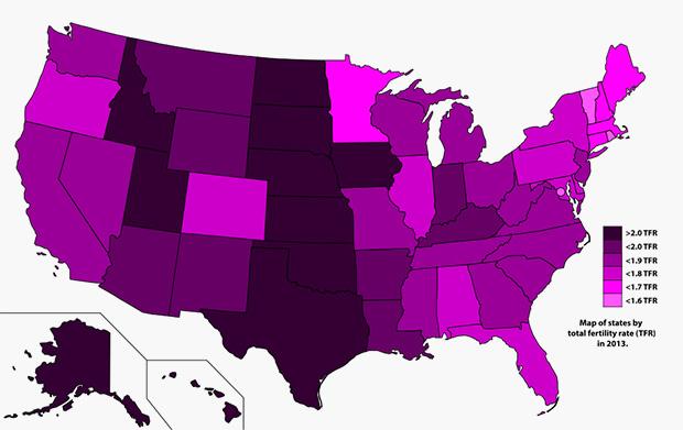 Уровень рождаемости в отдельных штатах США