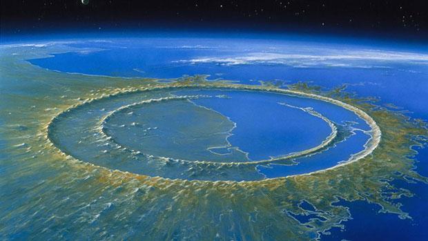 Чиксулубский кратер в представлении художника