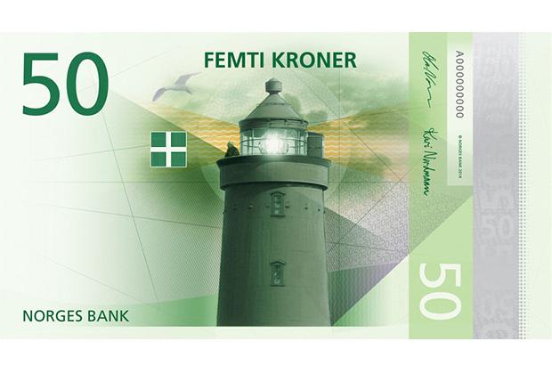 50 норвежских крон в новом дизайне — на лицевой стороне используются традиционные морские мотивы