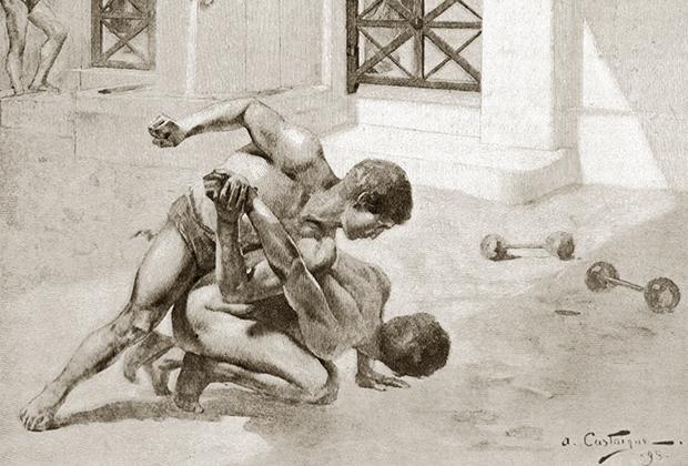 Судьи тщательно следили, чтобы противники не тыкали друг другу в глаза, не хватали за гениталии и не кусались. А вот, скажем, ломать пальцы или бить соперника головой разрешалось