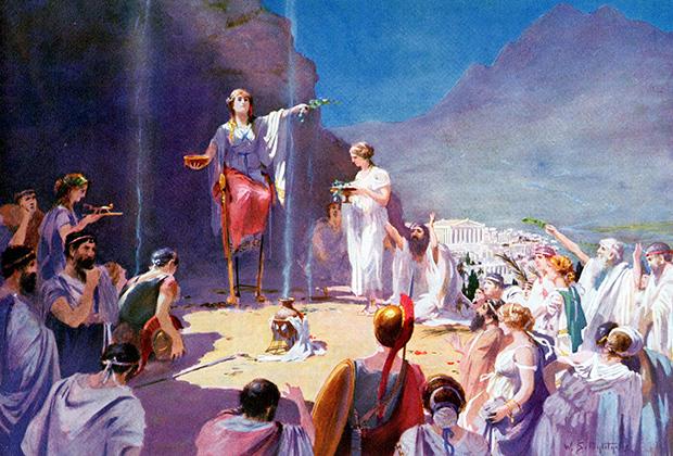 776 год до н.э., храм Аполлона в Дельфах: Пифия велит грекам возобновить Олимпиады