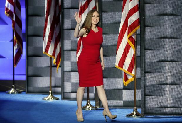 Челси Клинтон на съезде Демократической партии США в Филадельфии, 28 июля 2016 года