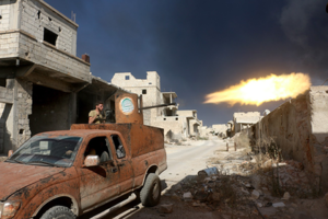 ALEPPO, SYRIA - AUGUST 09: Opposition forces clash with Assad Regime forces near a cement plant located in southeast of Aleppo, Syria on August 09, 2016. Beha El Halebi / Anadolu Agency