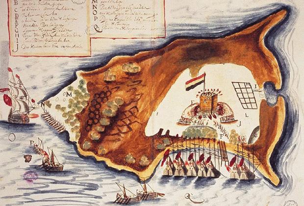 Нападение испанцев и индейцев на голландский форт. Рисунок Хуана Баутиста Антонелли