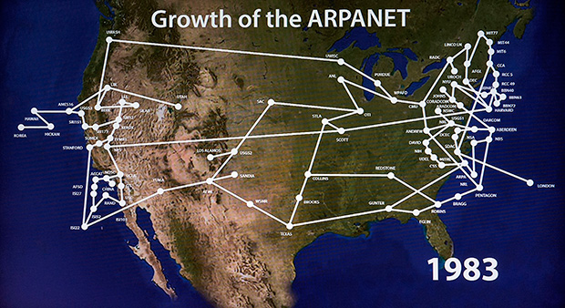 Карта ARPANET, предшественника интернета, по состоянию на 1983 год