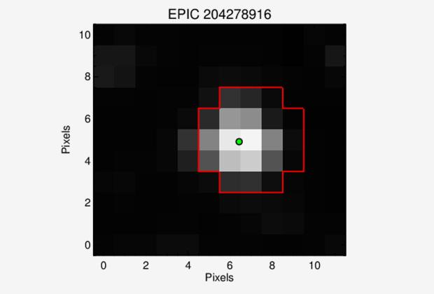 Звезда EPIC 204278916 отмечена зеленым цветом (наблюдение миссии K2)