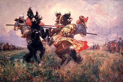 Репродукция картины Михаила Авилова «Поединок Пересвета с Челубеем на Куликовом поле»