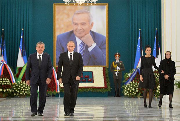 Мирзиёев с российским президентом Владимиром Путиным на траурной церемонии