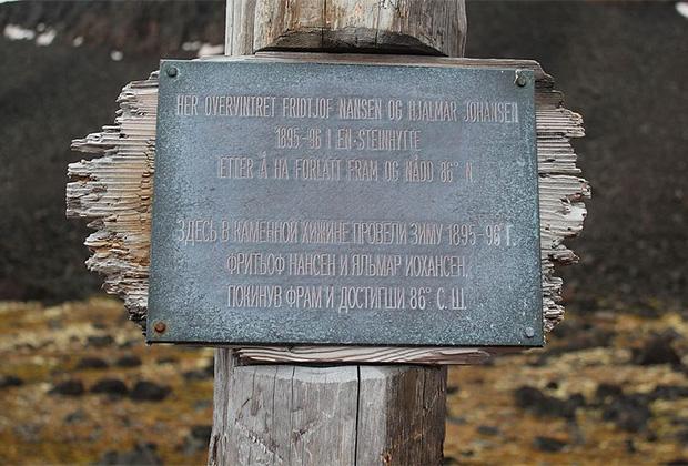 Памятная доска на месте зимовки Нансена и Юхансена