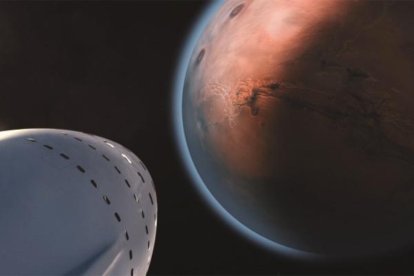 Корабль у Марса (в представлении художника)