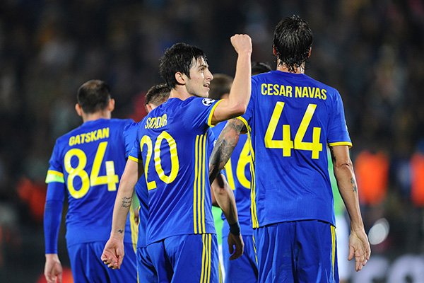Rostov's Sardar Azmoun reacts leaving a pithc after the Champions League Group D soccer match between Rostov and PSV Eindhoven, in Rostov-on-Don, Southern Russia, Wednesday, Sept. 28, 2016. (AP Photo/Str)