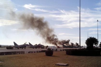 Наавиабазе вГреции зажегся истребитель F-16