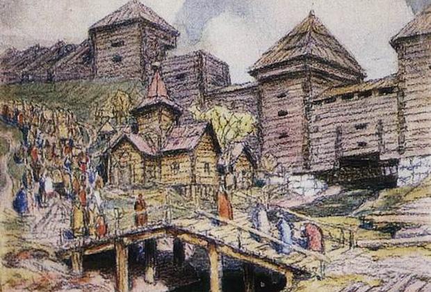 Укрепления на Земляном валу. Стена деревянного города над рекой Яузой. Москва XVII века
