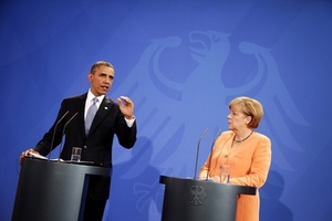 Президент США Барак Обама и канцлер ФРГ Ангела Меркель