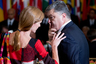 United States Ambassador to the United Nations Samantha Power, left, talks with Ukrainian President Petro Poroshenko, right, before a luncheon hosted by United Nations Secretary-General Ban Ki-moon, Monday, Sept. 28, 2015, at United Nations headquarters.