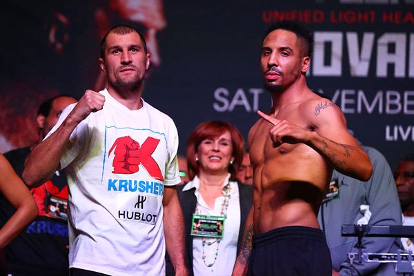 LAS VEGAS, NV - NOVEMBER 18:  Sergey Kovalev and Andre Ward square off  during the official weigh-in on November 18, 2016 at MGM Grand Garden Arena in Las Vegas, Nevada. will face in a WBO/IBF/WBA/ Light Heavyweight unification Championship bout  on November 19, 2016 in Las Vegas, Nevada.  (Photo by