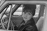 Советская поэтесса Белла Ахмадулина за рулем автомобиля. 1965