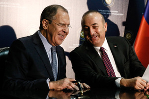 ALANYA, TURKEY - DECEMBER 1, 2016: Russia's Foreign Minister Sergei Lavrov (L) and his Turkish counterpart Mevlut Cavusoglu at a ceremony to sign joint documents following a meeting of the Russian-Turkish Joint Strategic Planning Group (JSPG) at the Rubi Platinum Hotel. Alexander Shcherbak/TASS