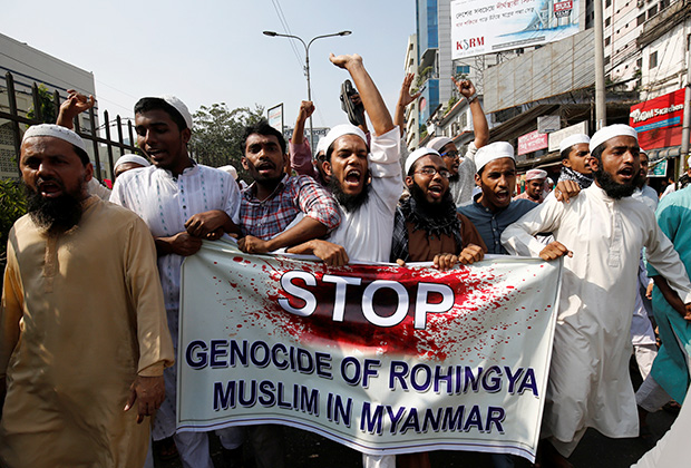 Исламские активисты в Бангладеш протестуют против геноцида рохинджа
