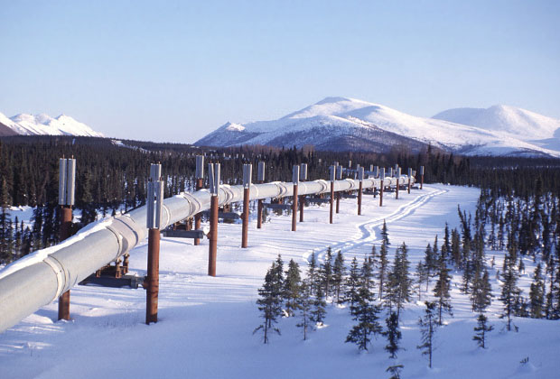 September 2, 2016 - Valdez, AK, United States of America - The trans Alaskan pipeline during the winter near pump Station 4 near Valdez, Alaska.