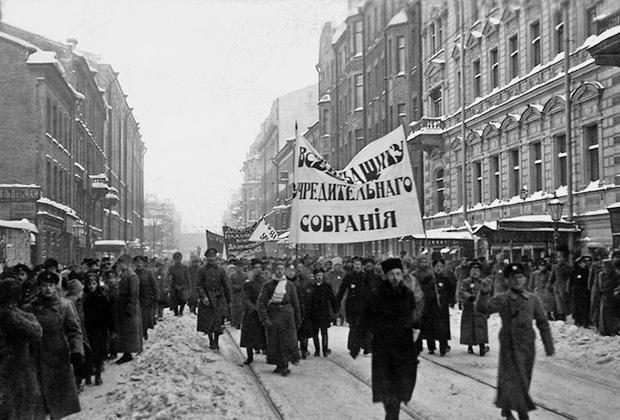 Мирная демонстрация в защиту Учредительного собрания, Петроград, январь 1918 года