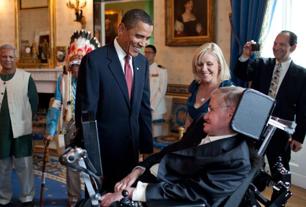 Барак Обама и Стивен Хокинг