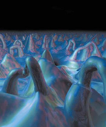 Порожденная квантовыми флуктуациями на планковских масштабах пространственно-временная пена (в представлении художника)