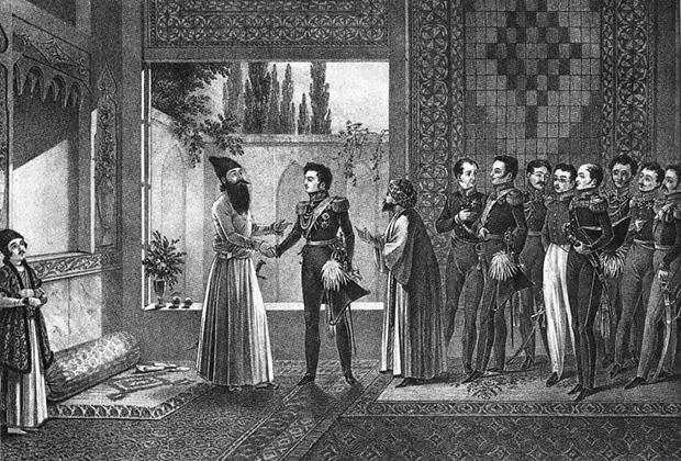 Российская делегация на переговорах в Туркманчае. Грибоедов пятый справа