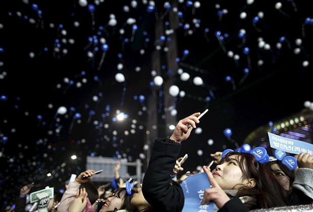 Встреча Нового года в центре Сеула