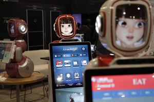 Furo smart service robots are demonstrated at CES International Friday, Jan. 6, 2017, in Las Vegas.