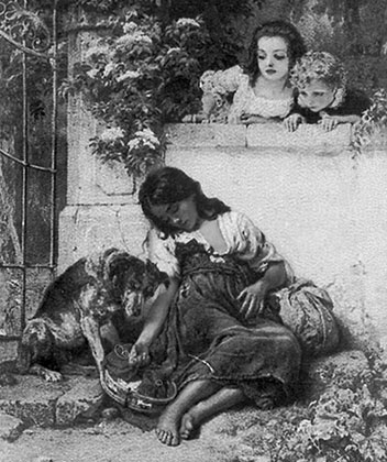 Август Вильгельм Зон «Дети смотрят на маленькую попрошайку», гравюра XIX века