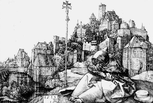 Альбрехт Дюрер «Святой Антоний читает», гравюра XVI века