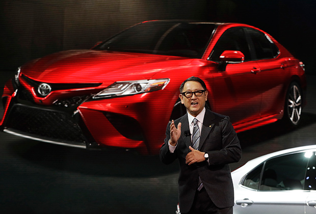 Toyota President Akio Toyoda introduces the 2018 Toyota Camry at the North American International Auto show, Monday, Jan. 9, 2017