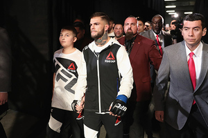 LAS VEGAS, NV - DECEMBER 30: Cody Garbrandt walks to the Octagon to face Dominick Cruz in their UFC bantamweight championship bout during the UFC 207 event on December 30, 2016 in Las Vegas, Nevada.