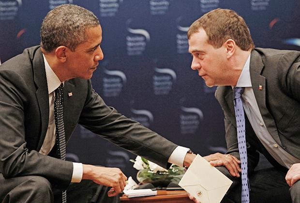 Барак Обама и Дмитрий Медведев на переговорах в Сеуле. 26 марта 2012